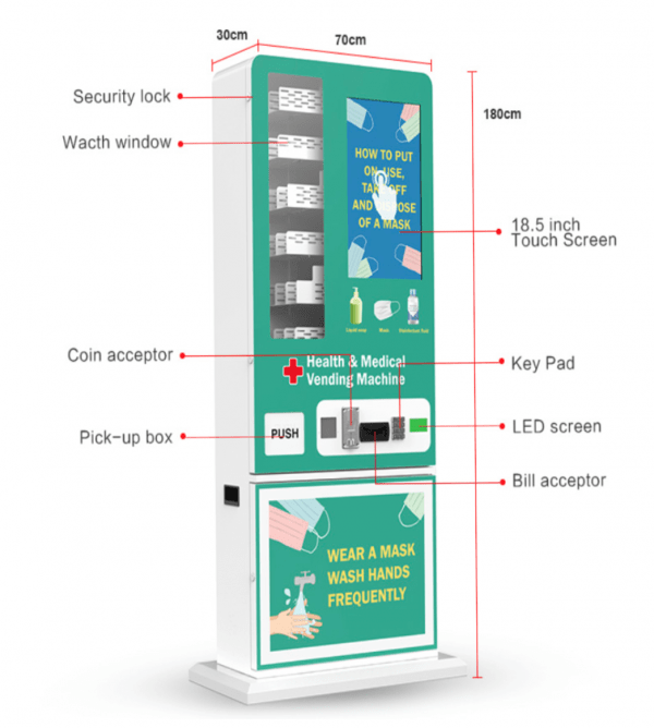 Mask Vending Machine For Sale 24 Hours Self-service